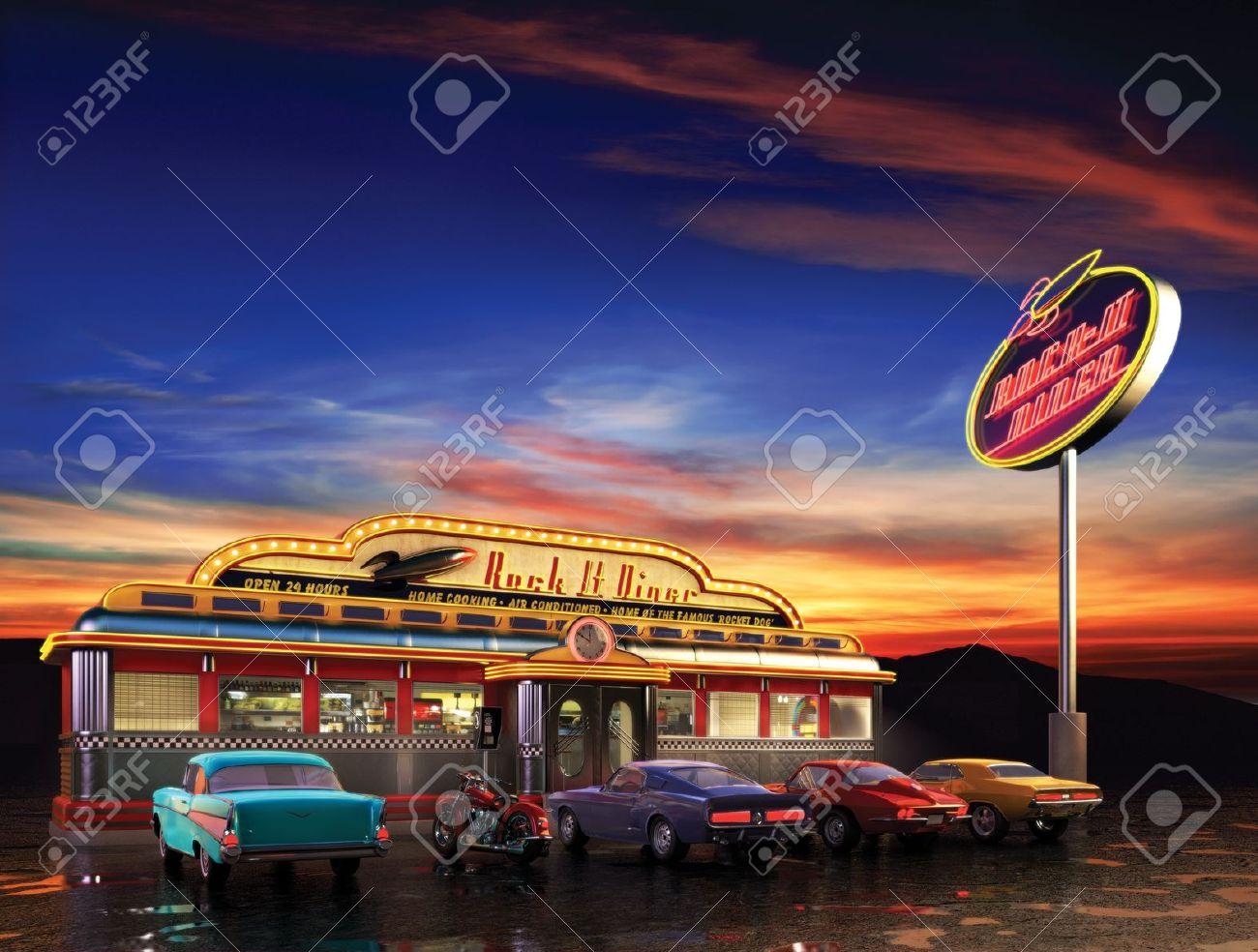 Retro American diner at dusk - 7058883