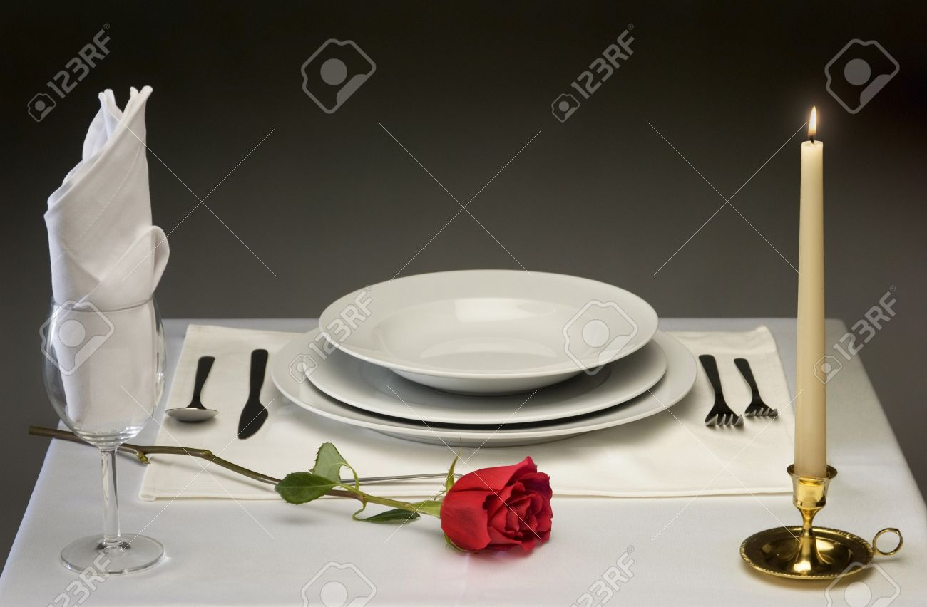 Superb Candle Light Dinner Table Setting Part - 13: Elegant Table Setting With Rose And Candlelight Stock Photo - 7058002