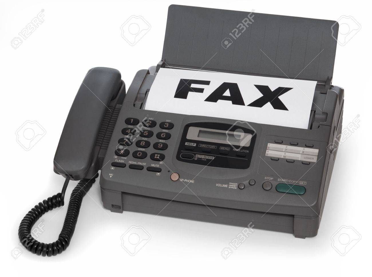 fax machine isolated on white background stock photo picture and
