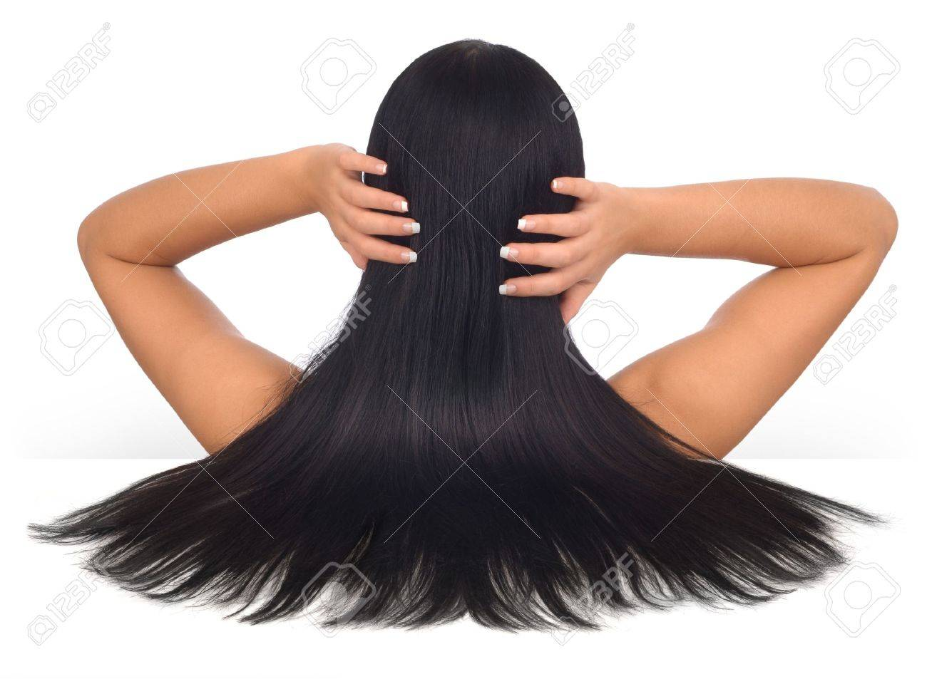 Woman with long black hair on a white background Stock Photo - 7054782