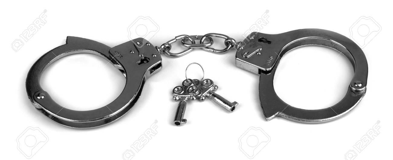 handcuffs on white Stock Photo - 7049136