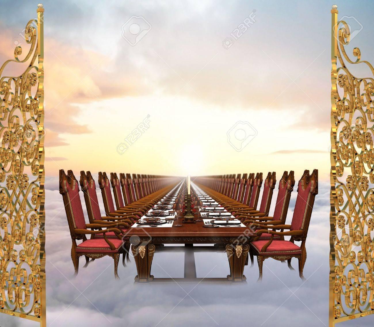 Le Ciel : Ultime récompense du chrétien ! Imaginez sa beauté ! 7059291-Illustration-de-la-grande-f-te-la-fin-des-temps-mettant-en-vedette-une-table-de-banquet-infiniment-l-Banque-d%27images