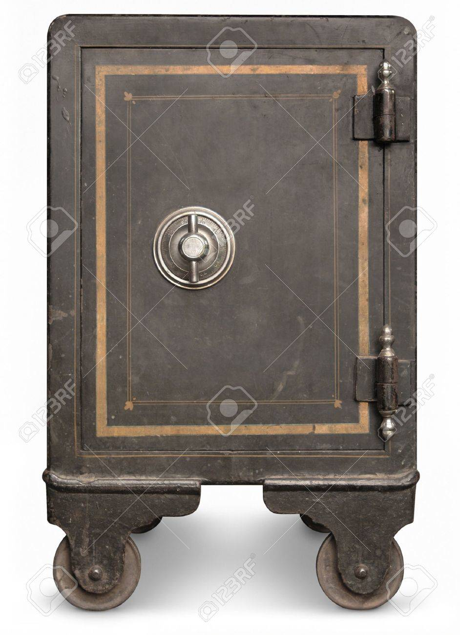 Antique iron safe isolated on white background Stock Photo - 7055554