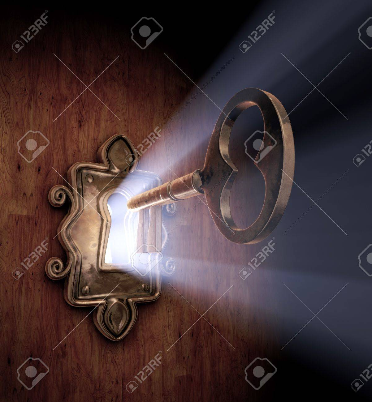 A close-up of a key moving towards the key hole. - 7059069