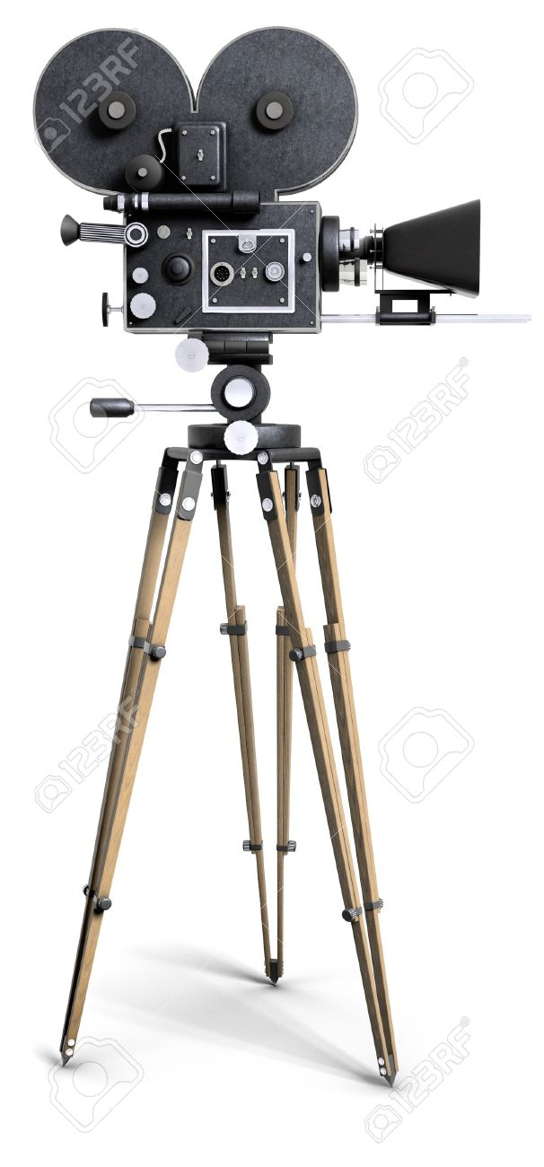 An old-fashoned movie camera on a tripod isolated on white. Stock Photo - 7057122