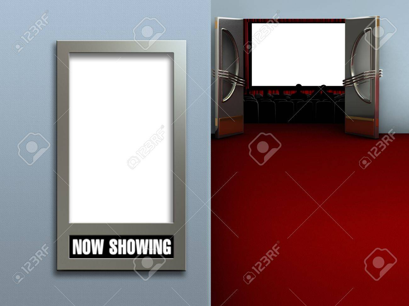 interior of a movie theatre showing a blank movie poster frame and a blank movie screen - Movie Poster Frame