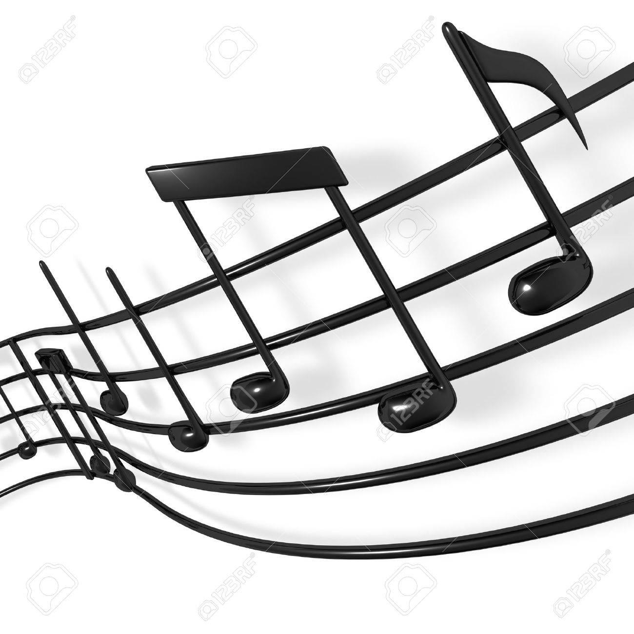 A musical score waving and bending towards the camera Standard-Bild - 7049781
