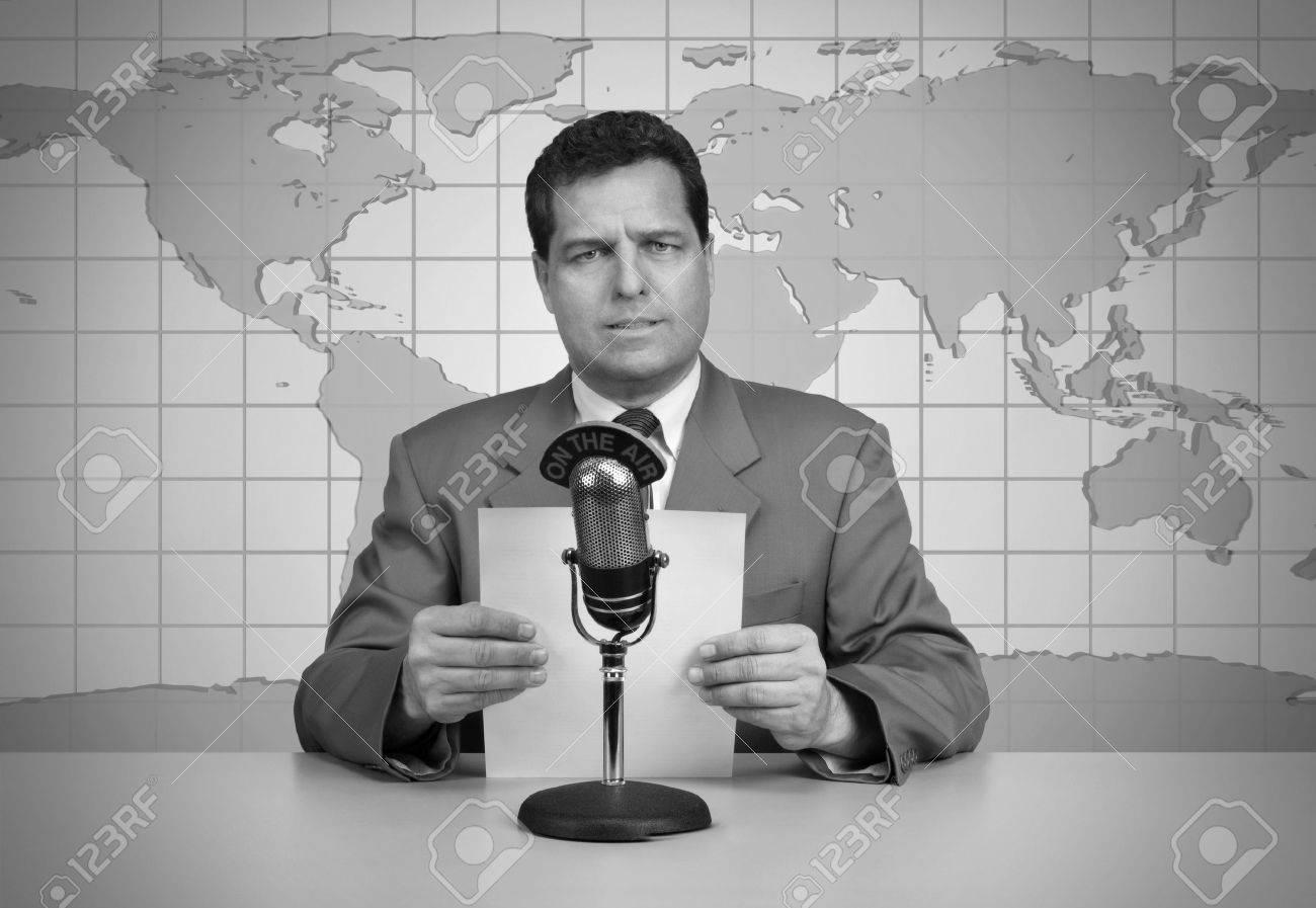 s Era TV News Anchor Reading The News Stock Photo  Picture        RF com          s era TV news anchor reading the news Stock Photo