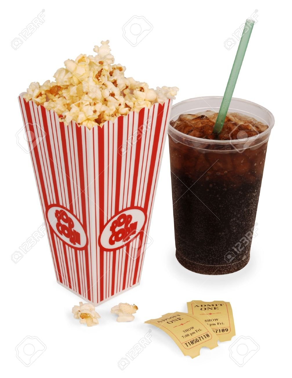 Popcorn, soda, & tickets isolated on white with clipping path - 7052687
