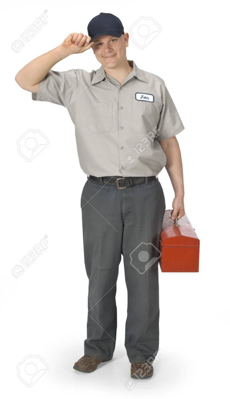 Repairman isolated on a white background with clipping path Stock Photo - 16947105