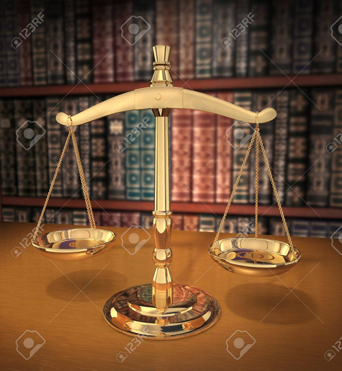 Brass Scales of Justice on a desk showing Depth-of-field books behind in the background Stock Photo - 7055169