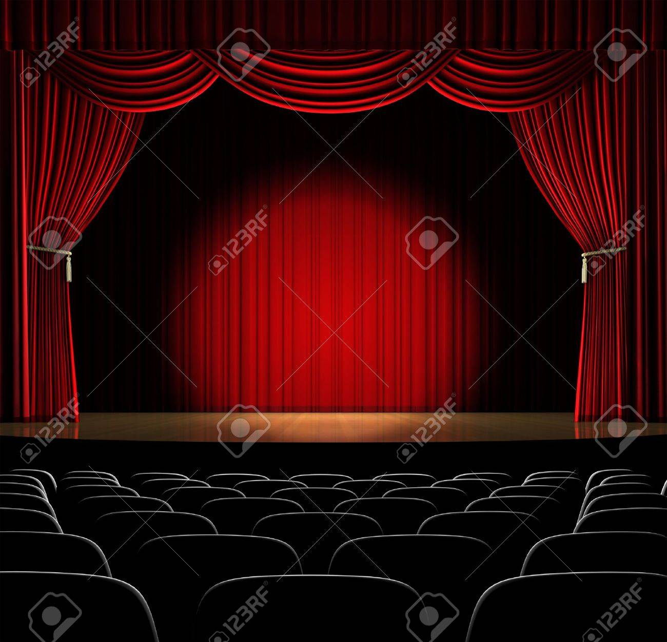 Red curtain spotlight - Theatre Stage With Red Curtain And Spotlight On The Stage Stock Photo 7057780