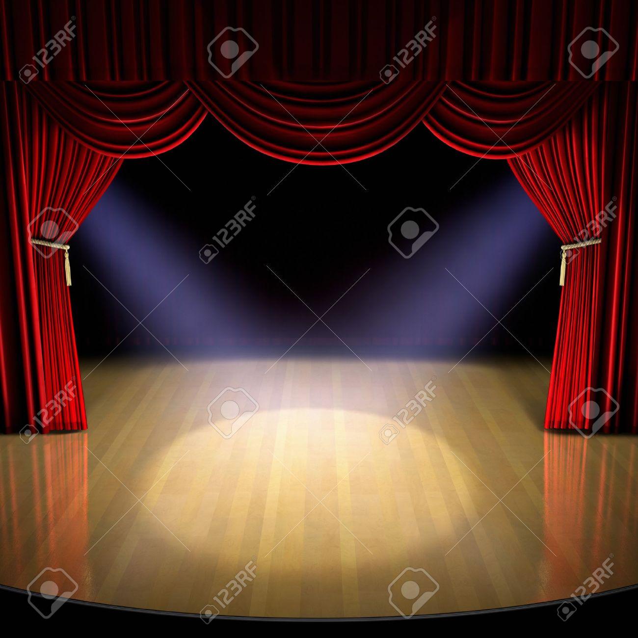 Scène de théâtre avec Rideau rouge et les projecteurs sur le plancher de la  scène.