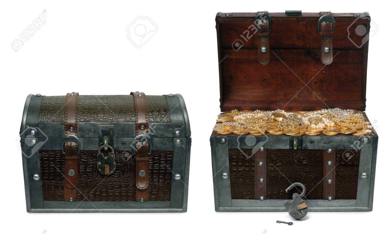 Two treasure chests isolated on a white background one in a closed position and the other open revealing treausre inside Stock Photo - 7060307