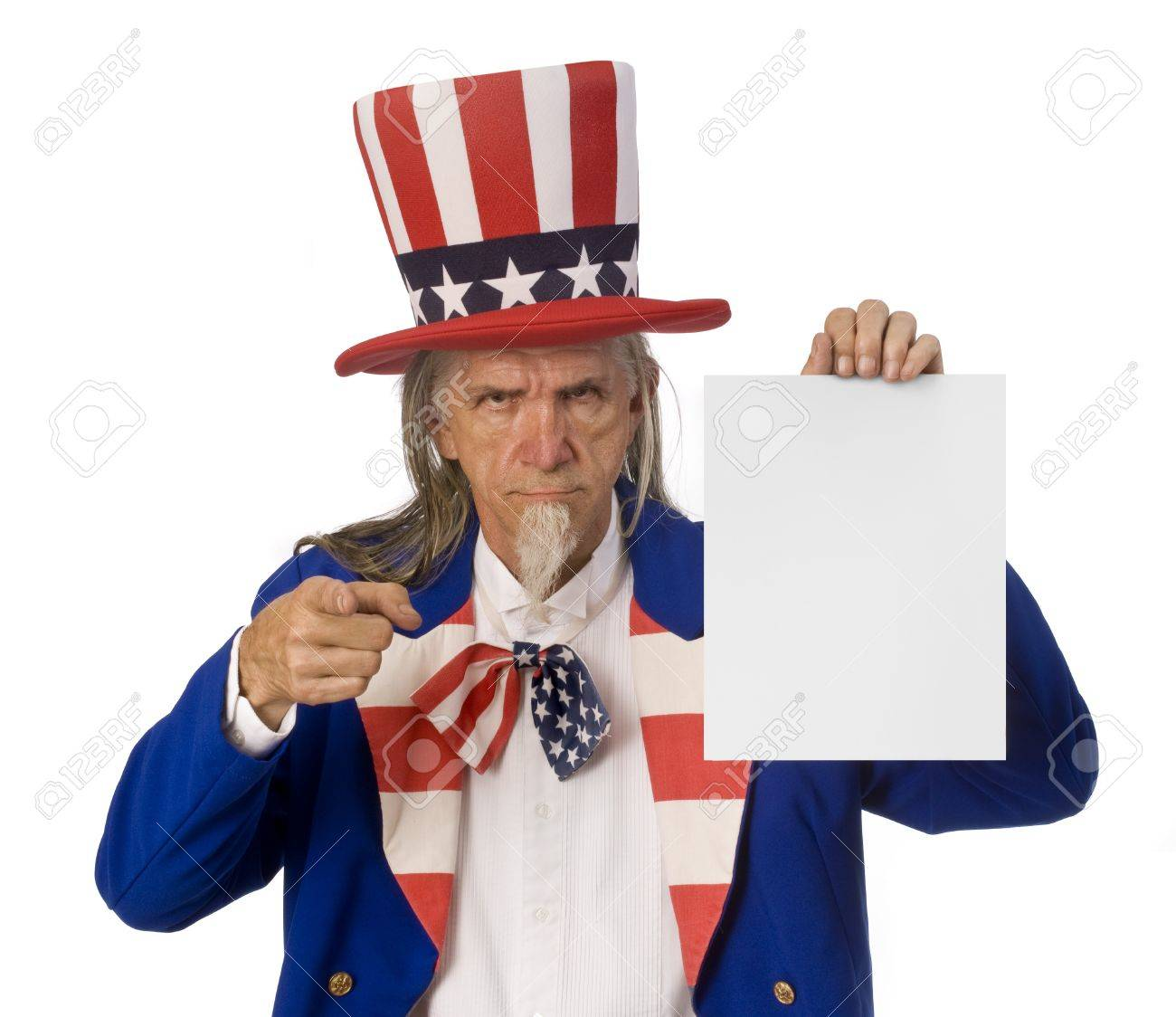 Uncle Sam holding a blank sign while pointing at the camera Stock Photo - 16947216