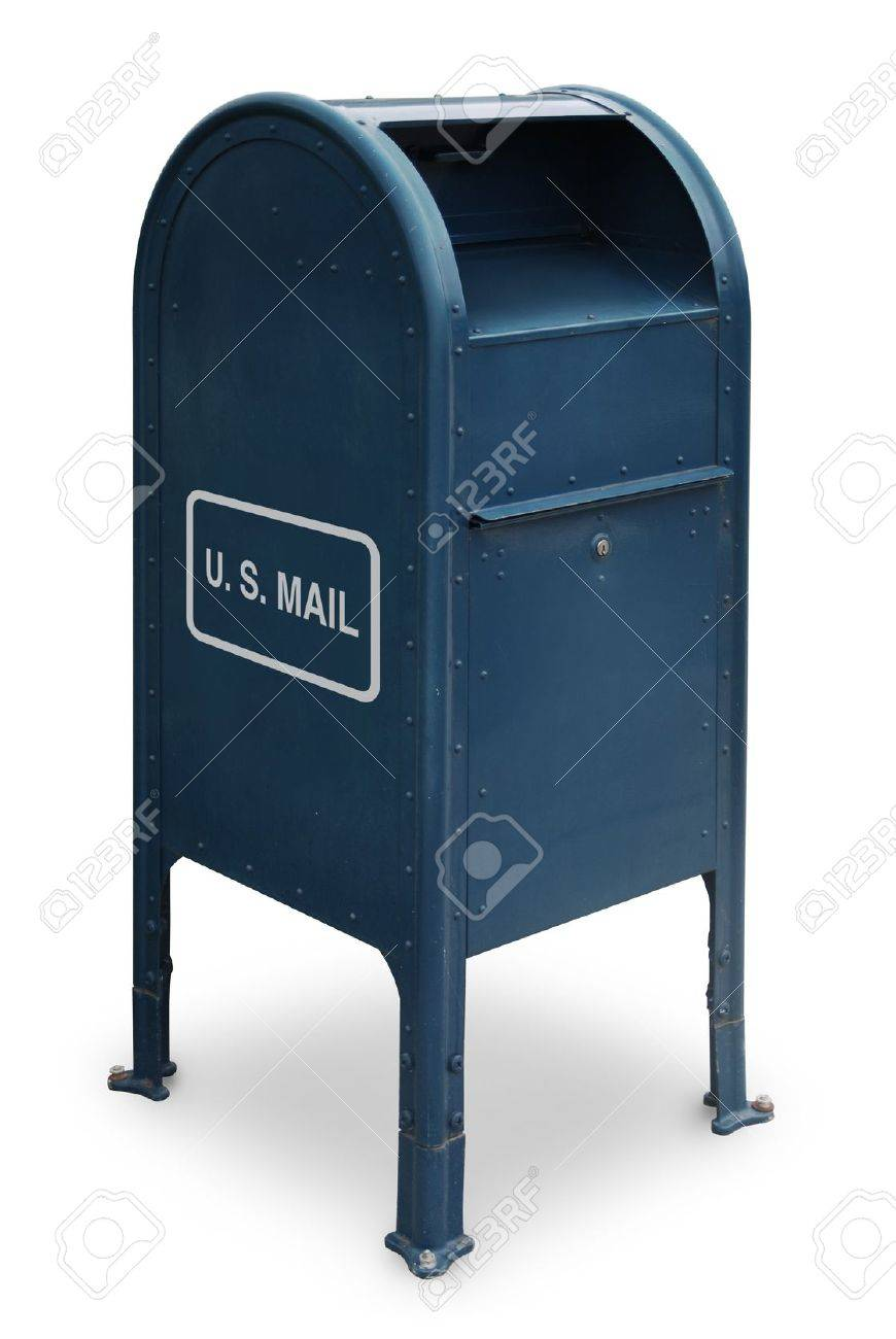 Blue US Mailbox On White Background Stock Photo, Picture And ...