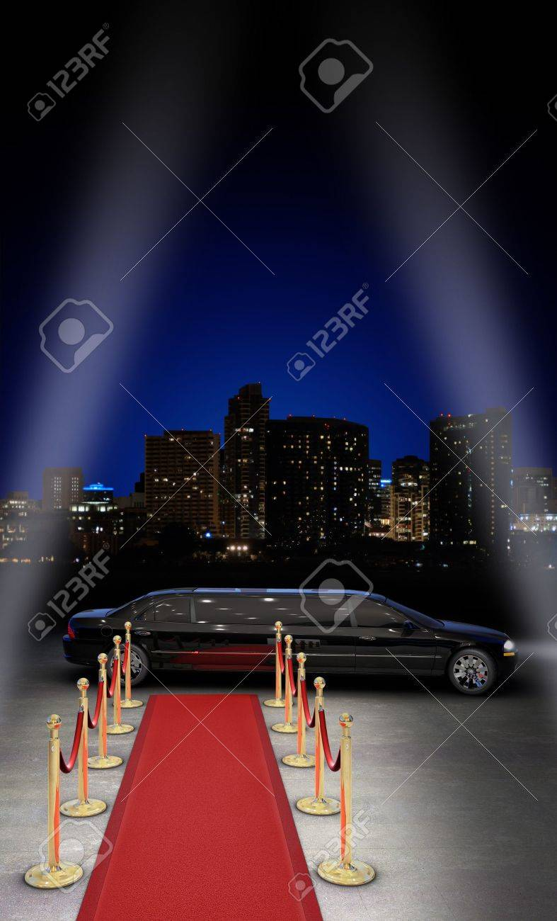 limousine parked in front of a red carpet with a city skyline in the background and searchlight beams coming in from the side Stock Photo - 7060322