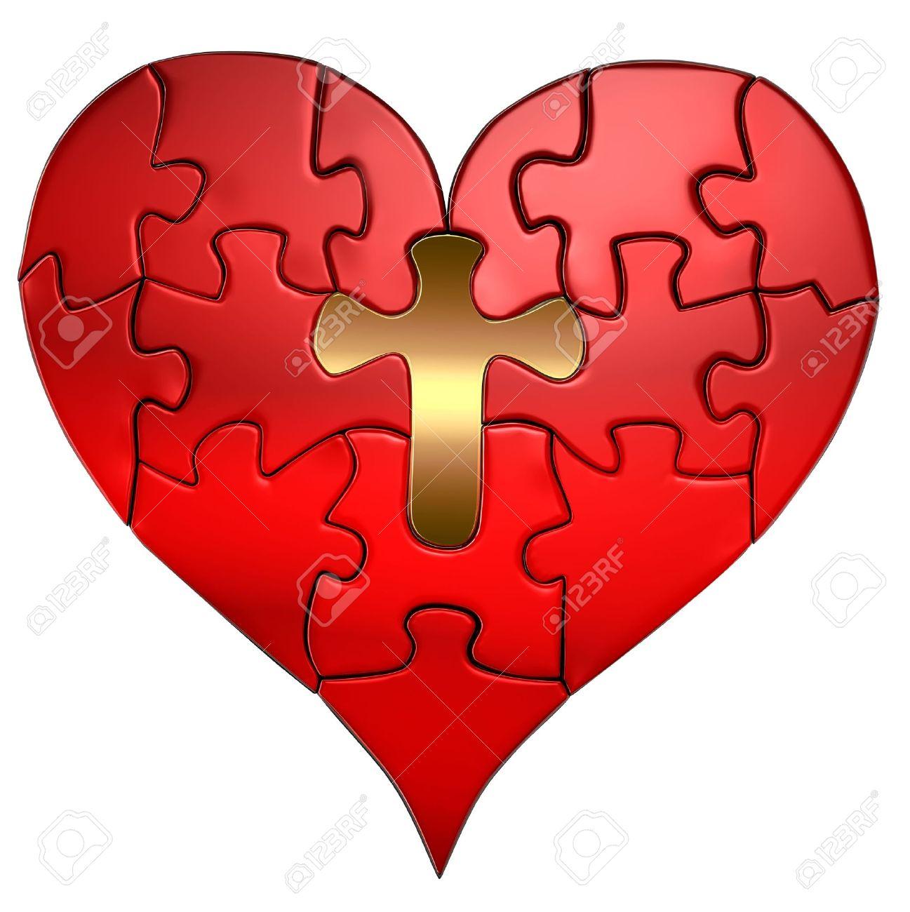 Rompecabezas De Un Corazón De San Valentín Con Una Cruz De Oro Como
