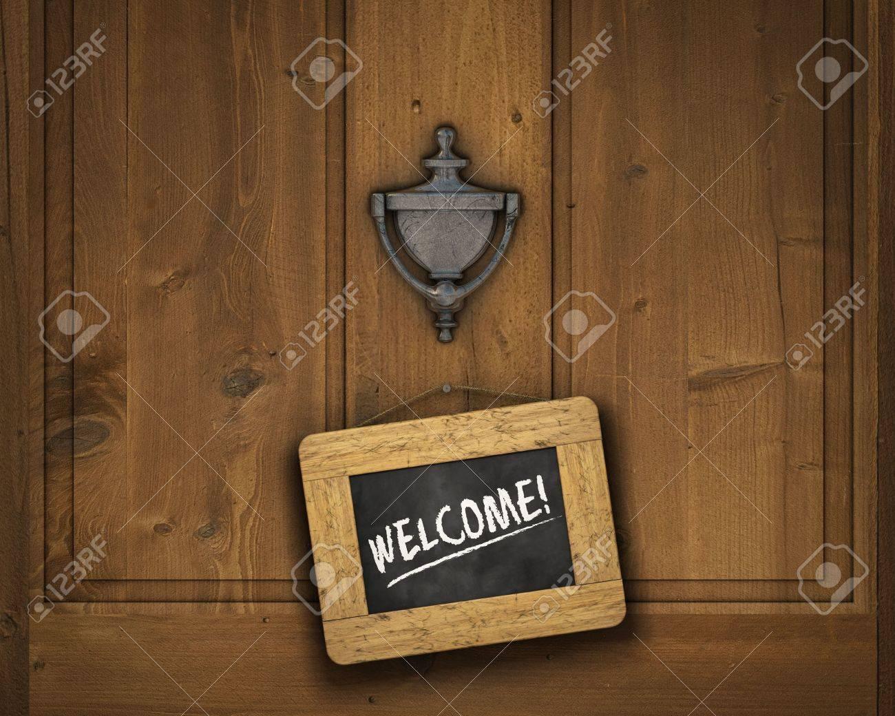 Small chalkboard hanging on a door underneath the door knocker with the word & Small Chalkboard Hanging On A Door Underneath The Door Knocker ... Pezcame.Com