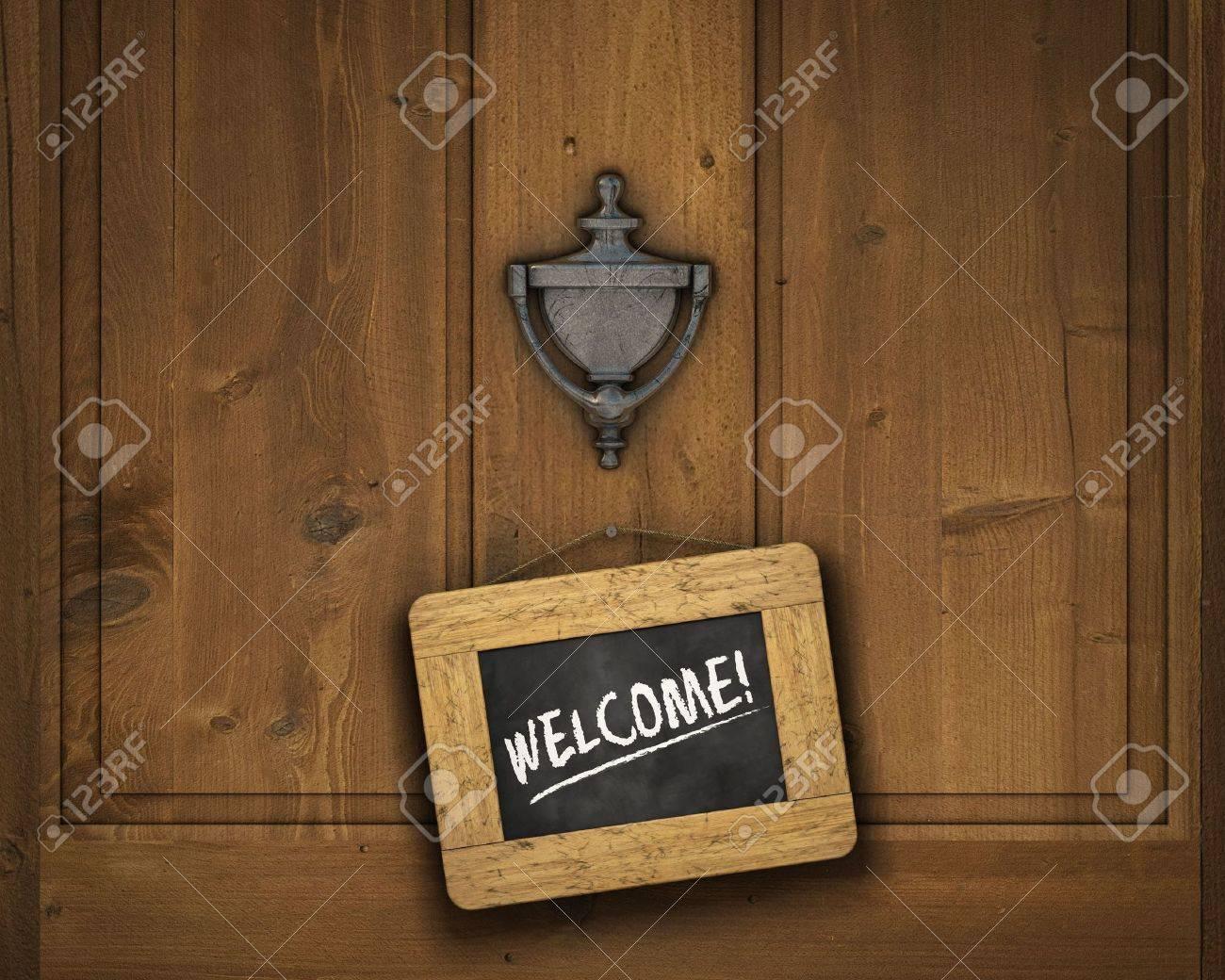 welcome door: Small chalkboard hanging on a door underneath the door knocker with the word & Welcome Door Images \u0026 Stock Pictures. Royalty Free Welcome Door ... Pezcame.Com