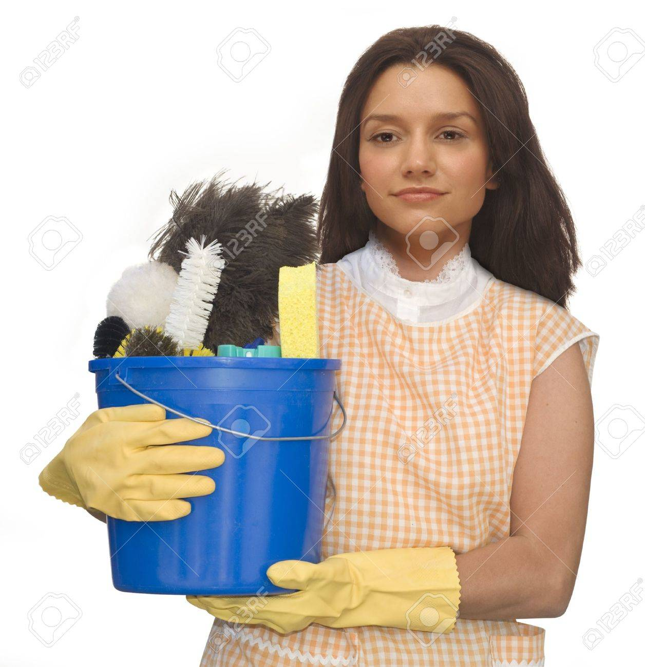 White rubber apron - Cleaning Lady Wearing Rubber Gloves And An Apron Holding A Bucket Of Cleaning Supplies On A