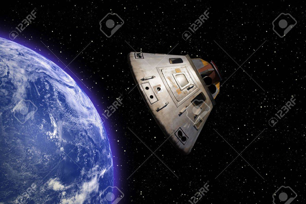 Apollo 13 space capsule orbiting Earth in space Stock Photo - 9524762