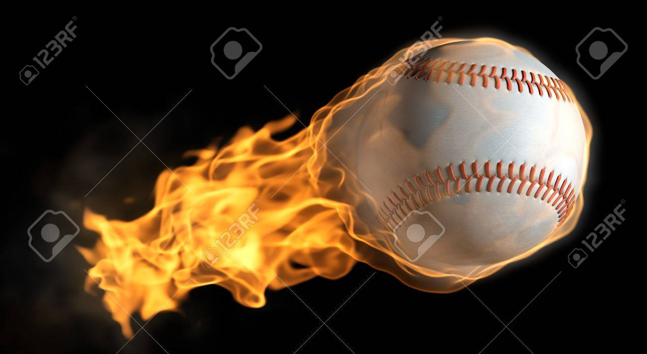 A base ball thats on fire flying through the air Stock Photo - 9524786