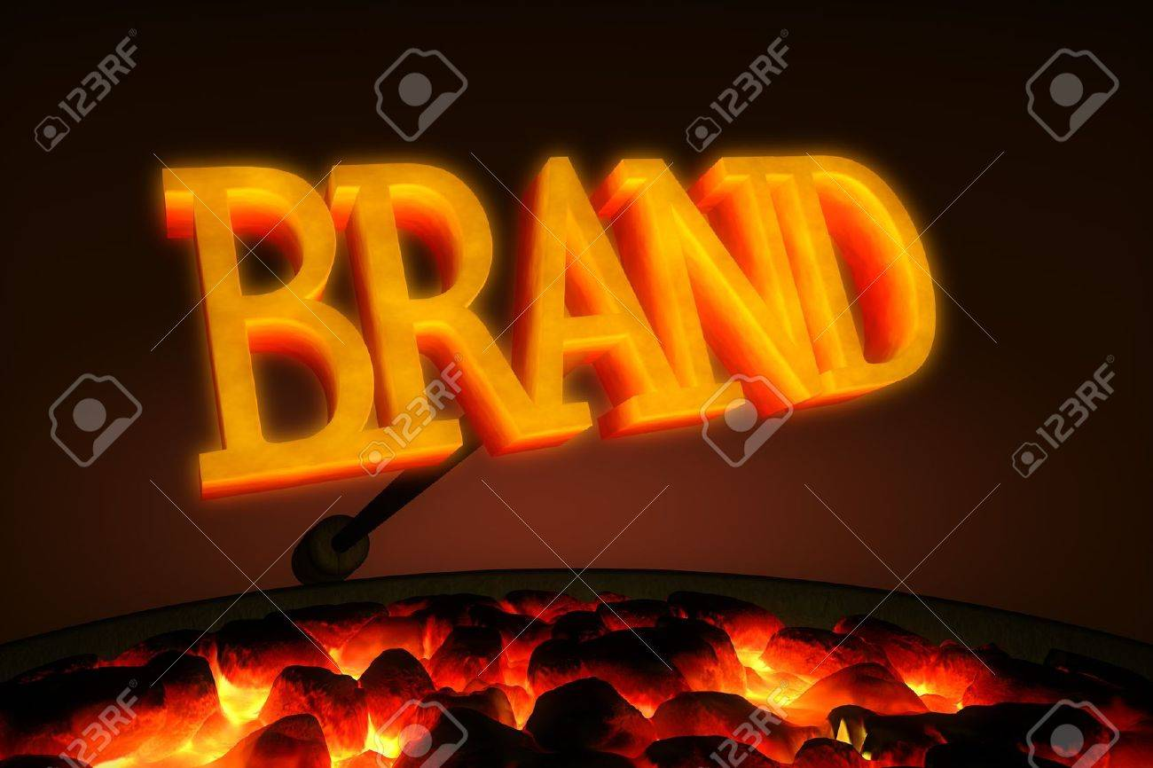 Red hot branding iron with the word Stock Photo - 9524789