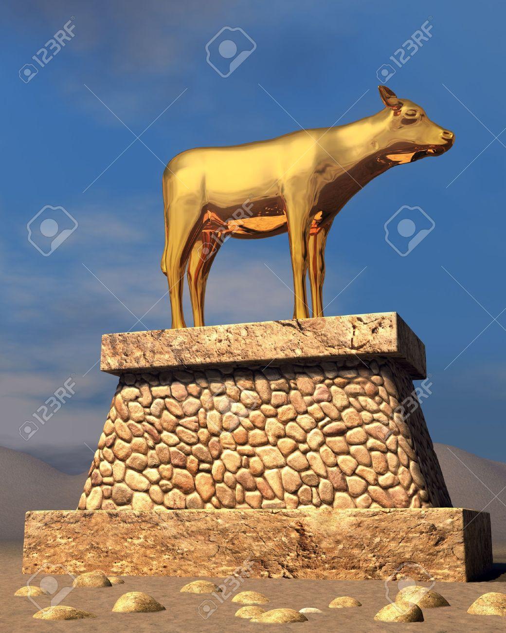 The golden calf as described in the book of Exodus Stock Photo - 9524493