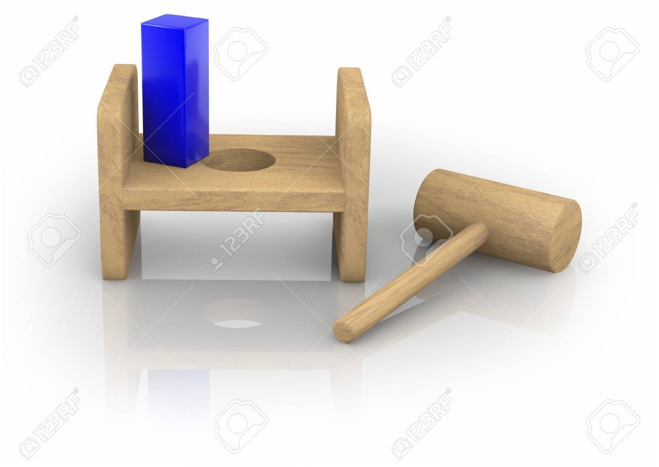Child's toy showing a quare peg and a round hole on a whie background - 9524709