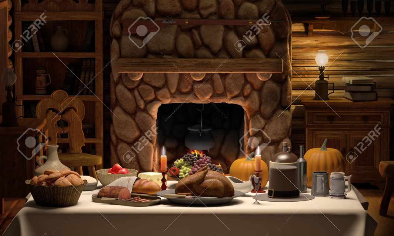 a full thanksgiving dinner on a table set in cozy cabin stock