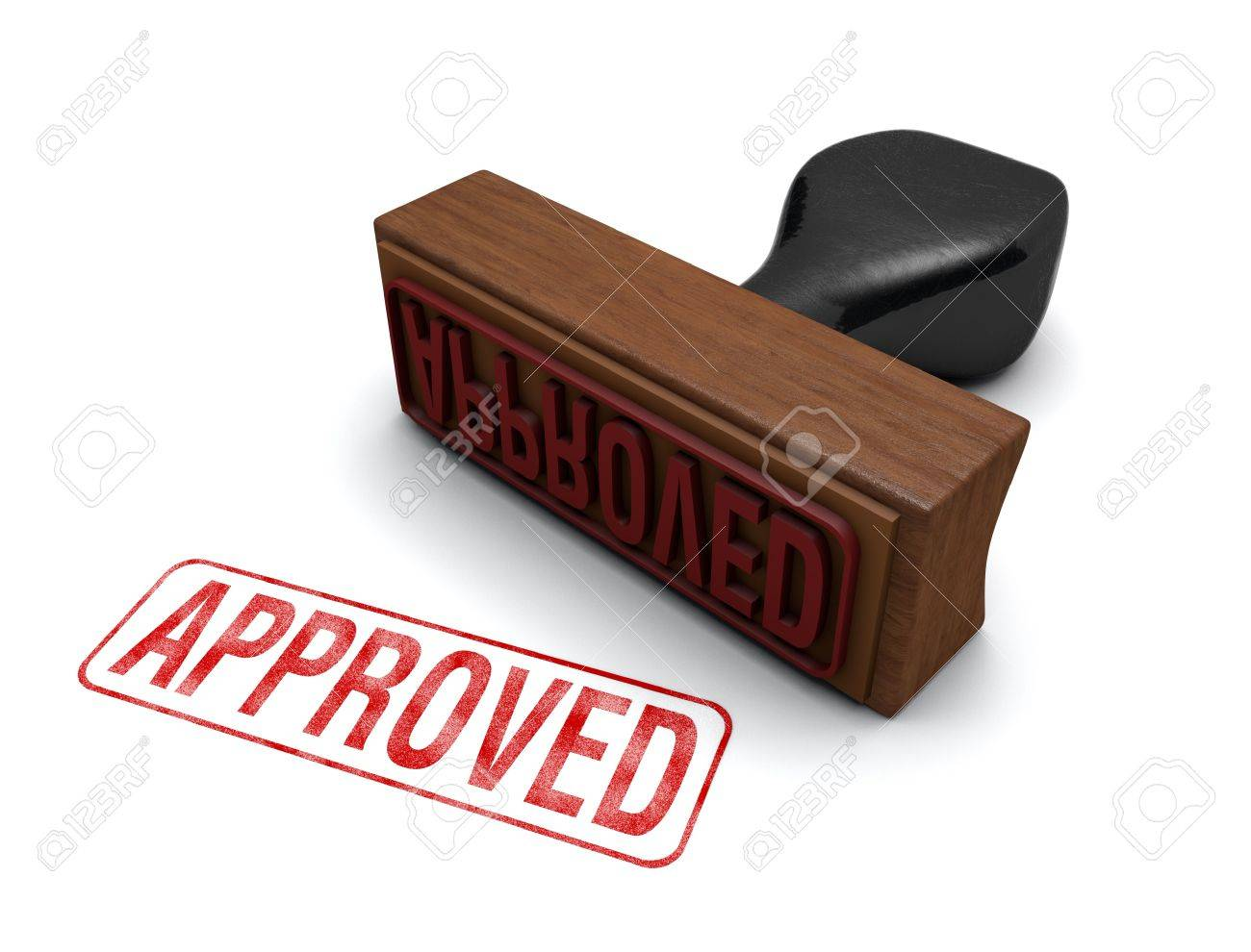 rubber stamp that says approved stamped in red letters on a