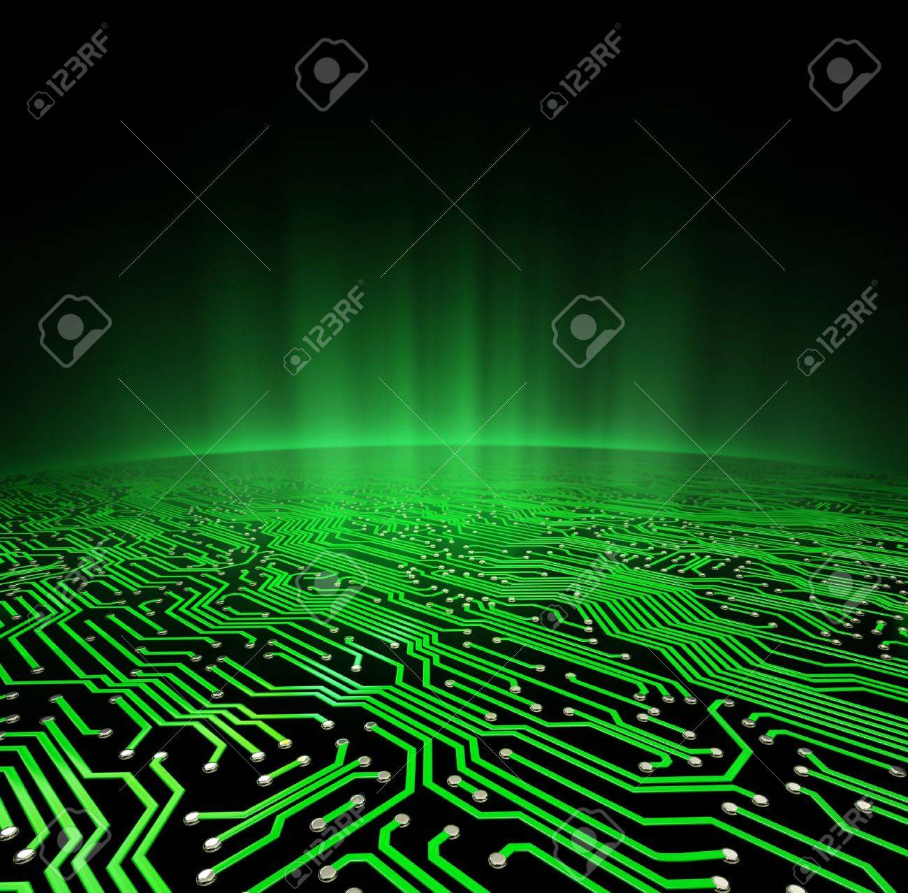 Landscape made of a printed circuit board with a glowing green horizon Stock Photo - 15440775