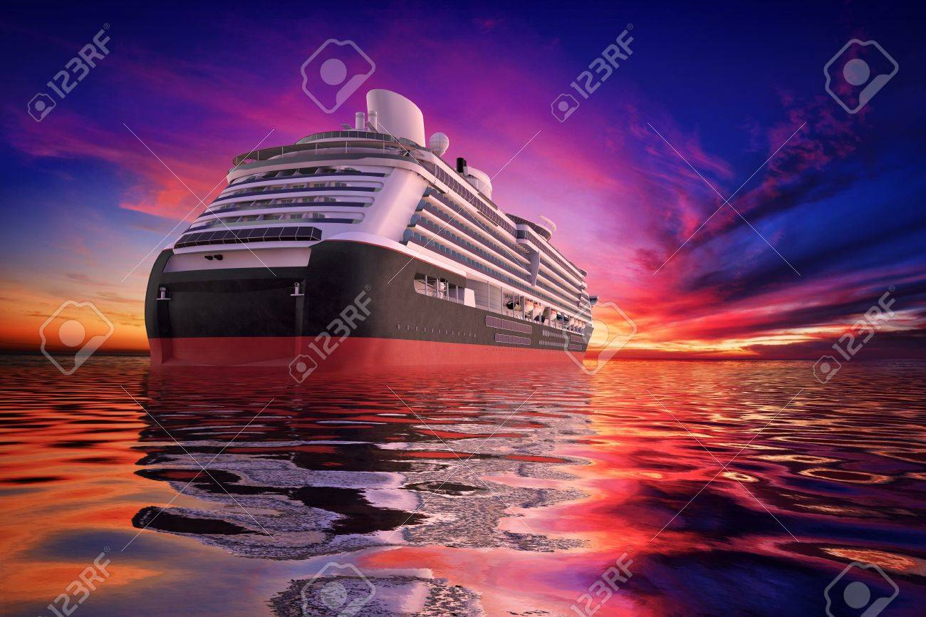 Luxery Cruiseship headed off into the sunset Stock Photo - 15440796
