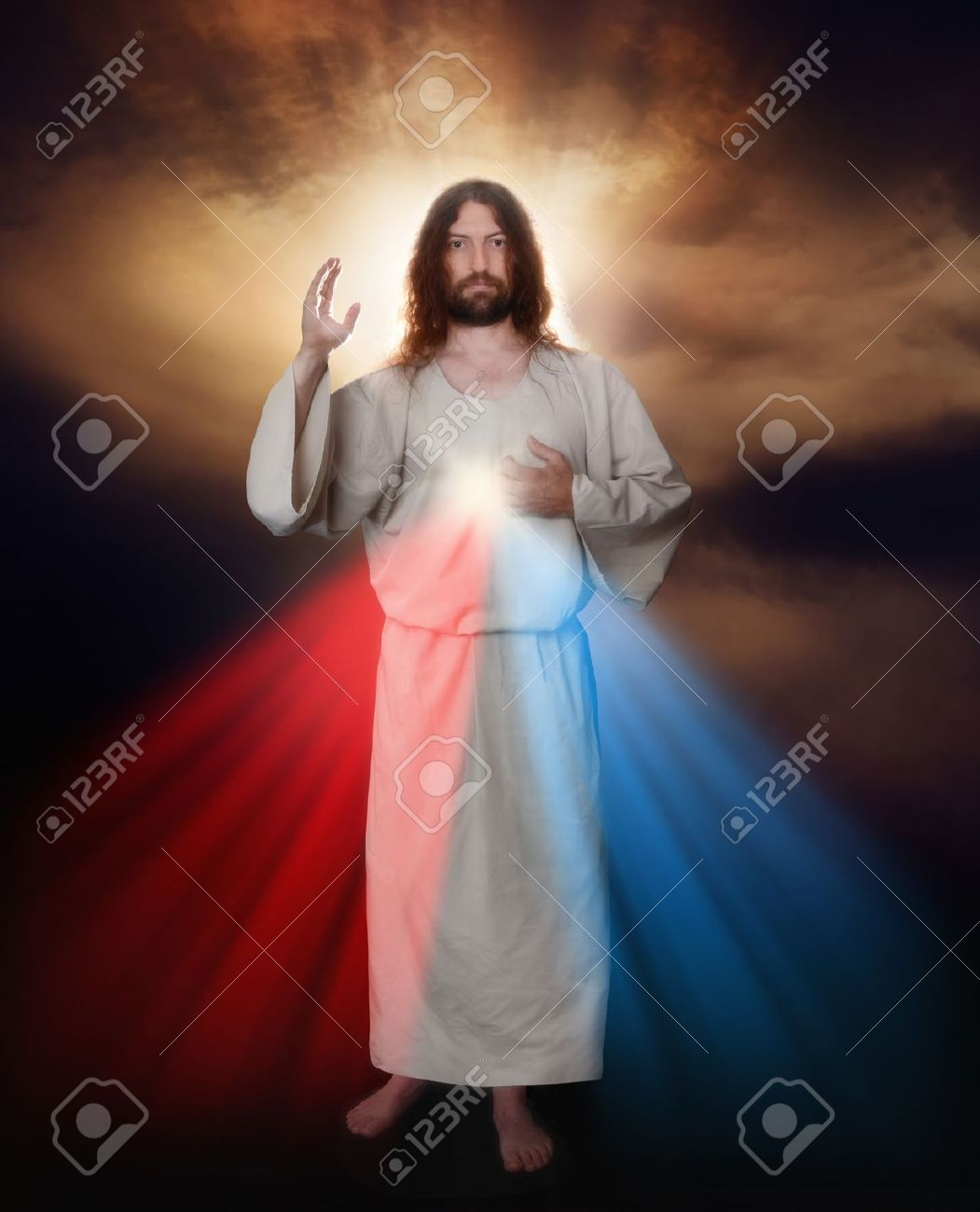 Divine Mercy image of Jesus as depicted by Sister Saint Faustina Stock Photo - 15455241