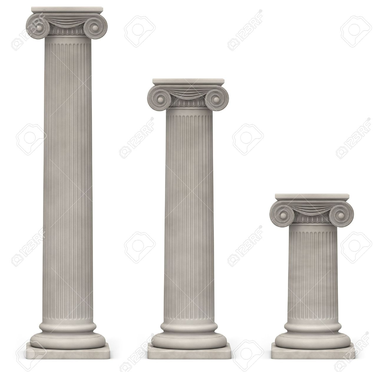 Three Ionic, stone columns of varying heights on a white background Stock Photo - 15440307
