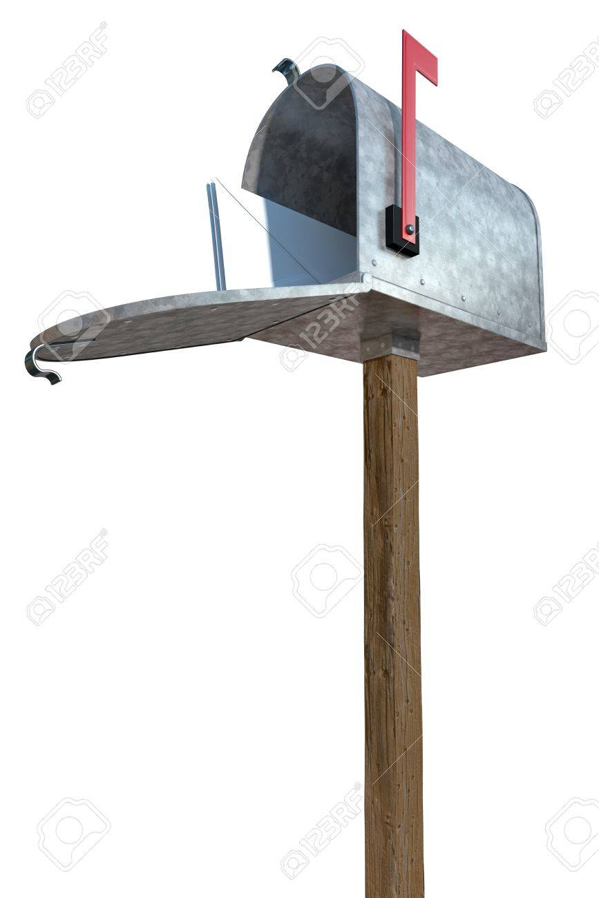 A Standard Galvanized Mailbox On Post With Mail And Flag Up Stock
