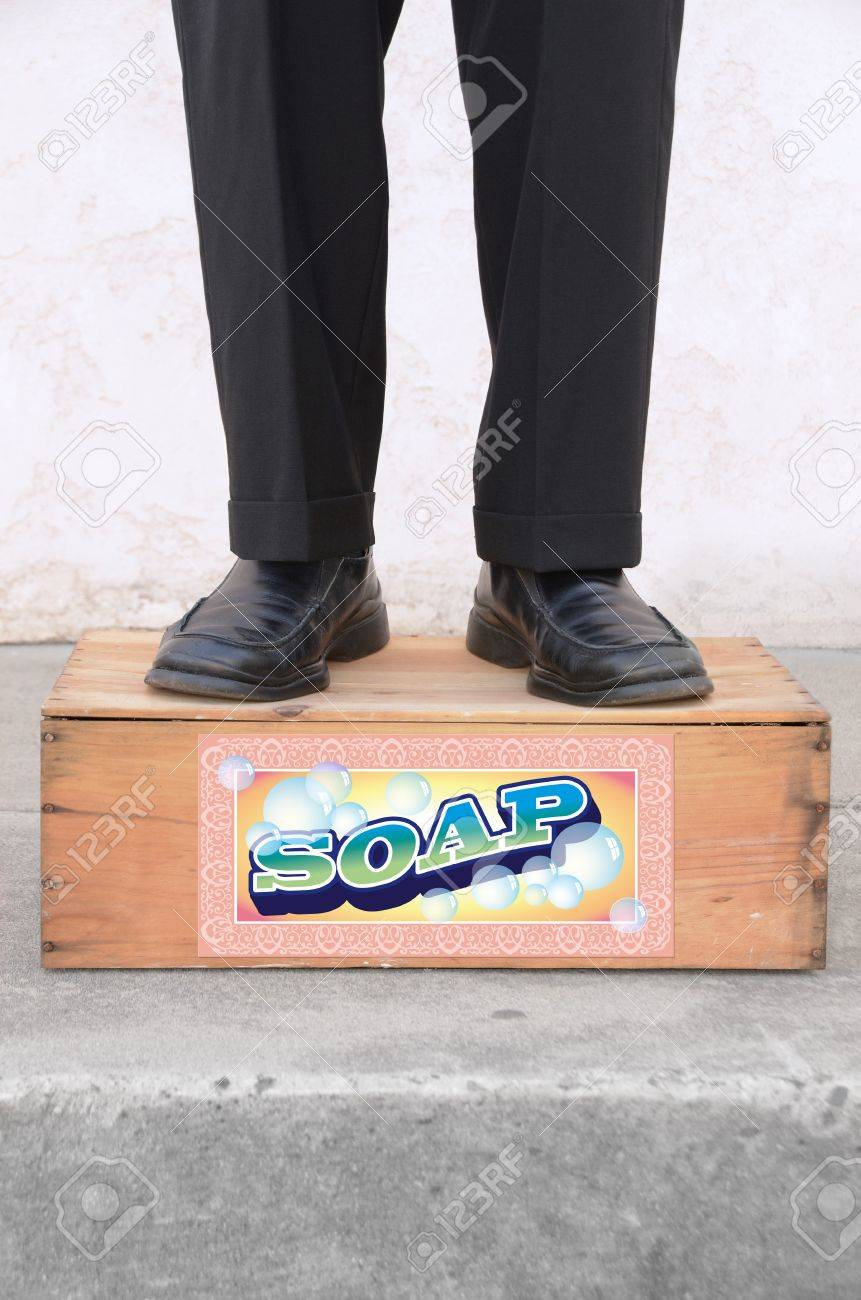Man standing on a soap box Stock Photo - 15440736