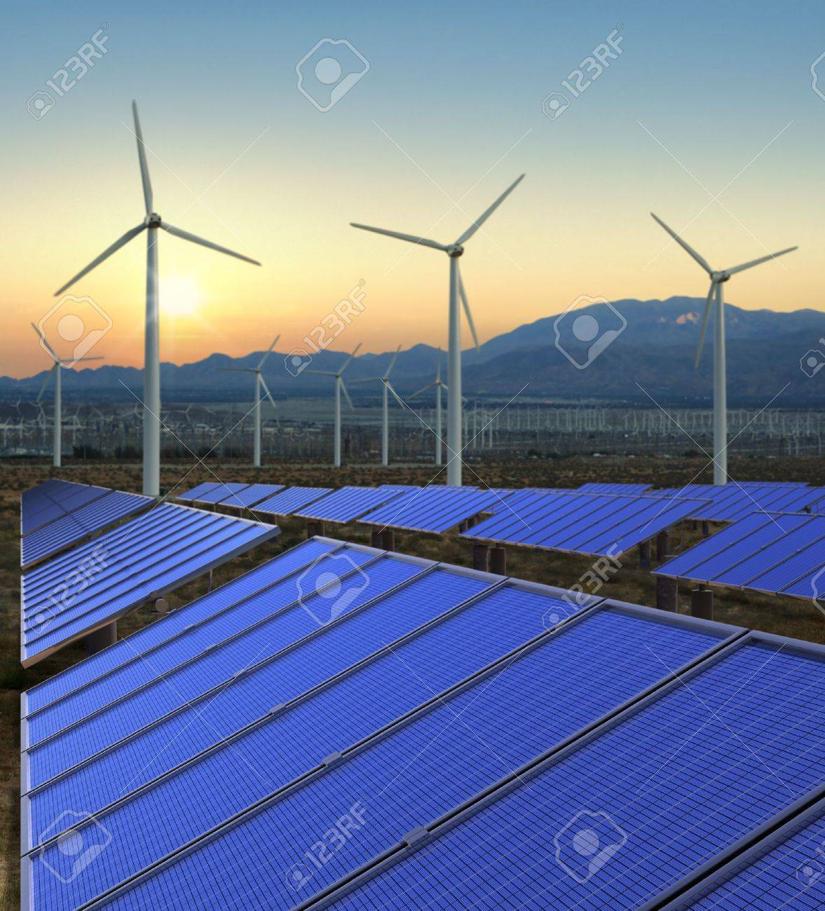 Wind turbines and solar panels on a renewable energy farm. Stock Photo - 15442377