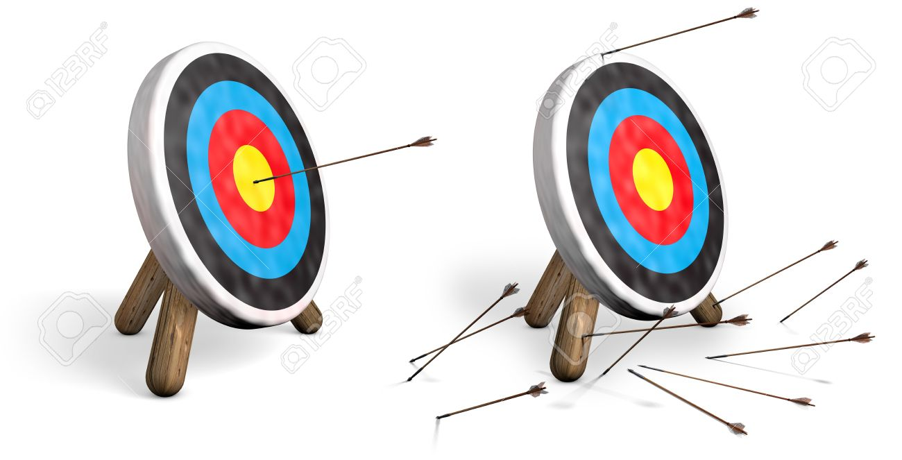 Two archery targets on white; one with bulls eyes and another with all arrows missing the target Stock Photo - 16948119