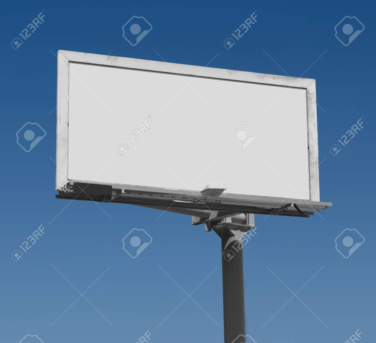 Blank Freestanding Billboard Against A Dark Blue Sky With Clipping ...