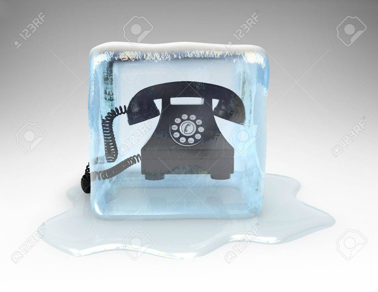 Telephone frozen in a block of ice Stock Photo - 16948246