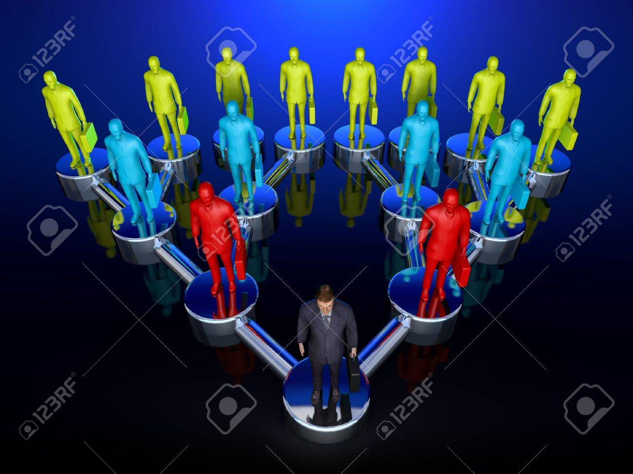 Graphic depiction of a downline or chain of command in a sales structure showing one man at the top, branching out exponentionally Stock Photo - 16948134