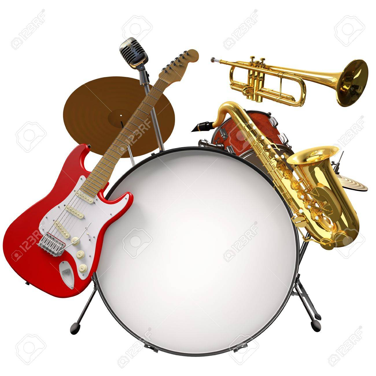 Jazz montage consisting of a drum kit, electic guitare, microphone, saxophone and trumpet on a white background Stock Photo - 16948120