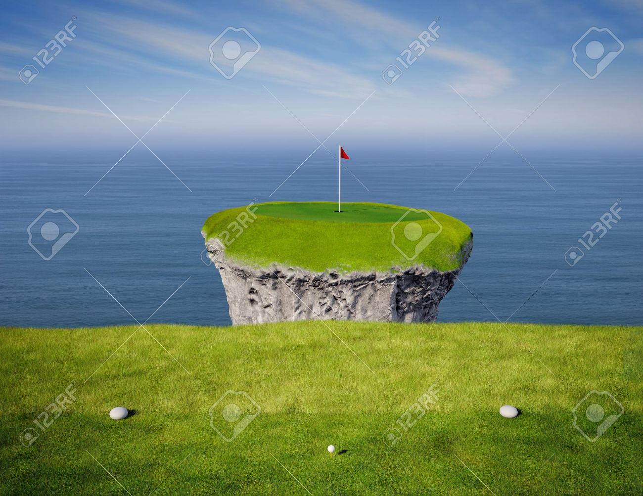 View of an impossible golf link viewed from the tee box. Stock Photo - 16948312