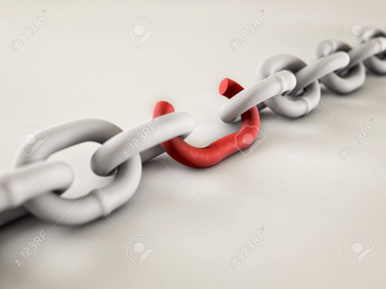A chain with a broken link highlighted red to highlight the weak link. Stock Photo - 16948324