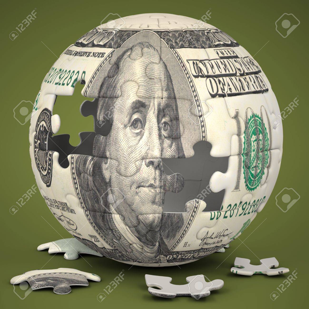 Photo of a jigsaw sphere image mapped with a 100 dollar bill on a green backdrop Stock Photo - 18596248