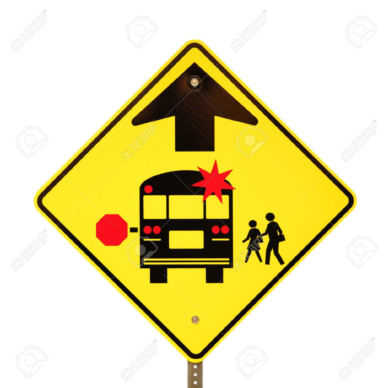 Back to school bus stop sign isolated on white. - 30660927