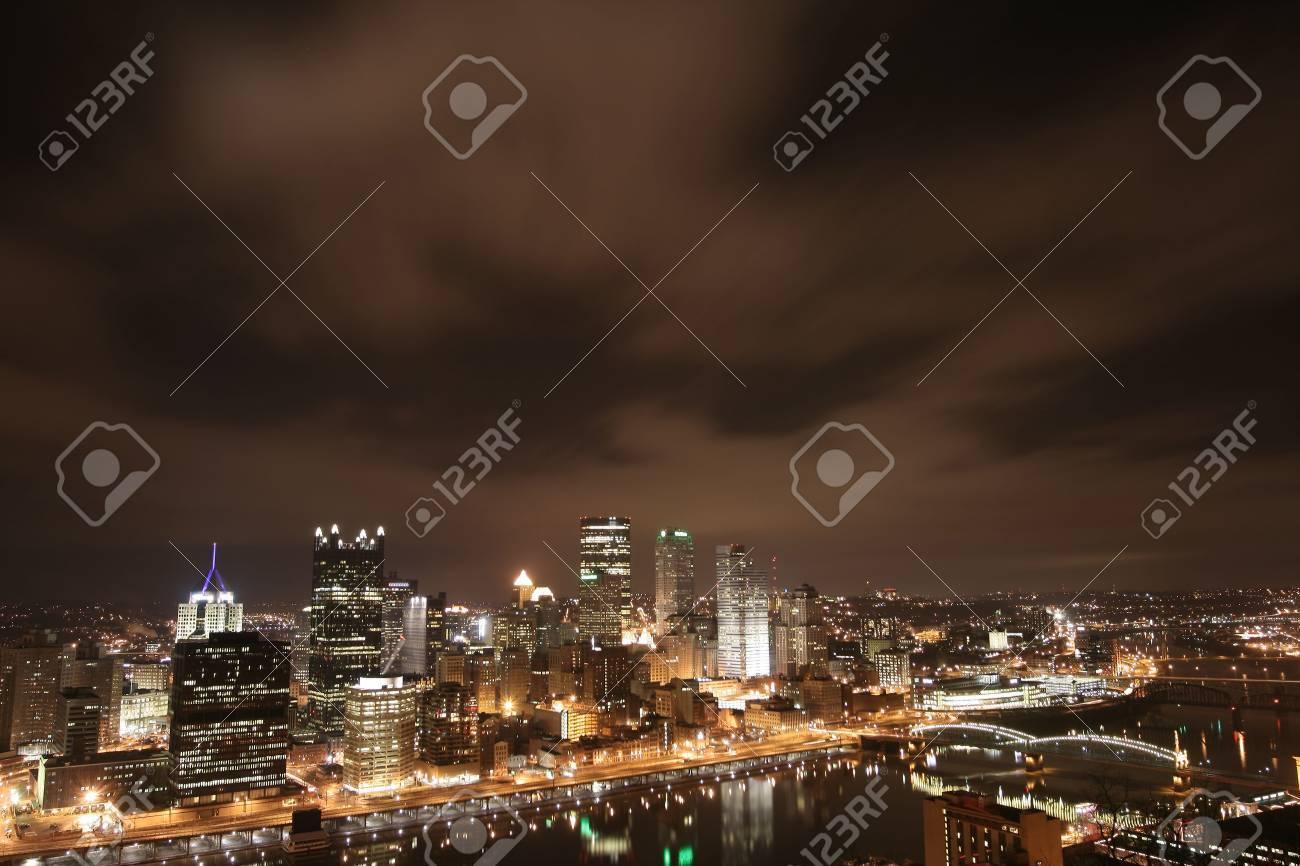 Pittsburgh's skyline from Mount Washington at night Stock Photo - 3660785