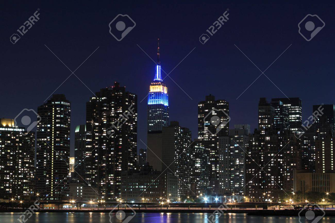 New York City Skyline At Night Lights Midtown Manhattan Stock Photo Picture And Royalty Free Image Image 7086549